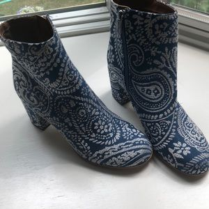 Indigo ankle booties with a little heel!